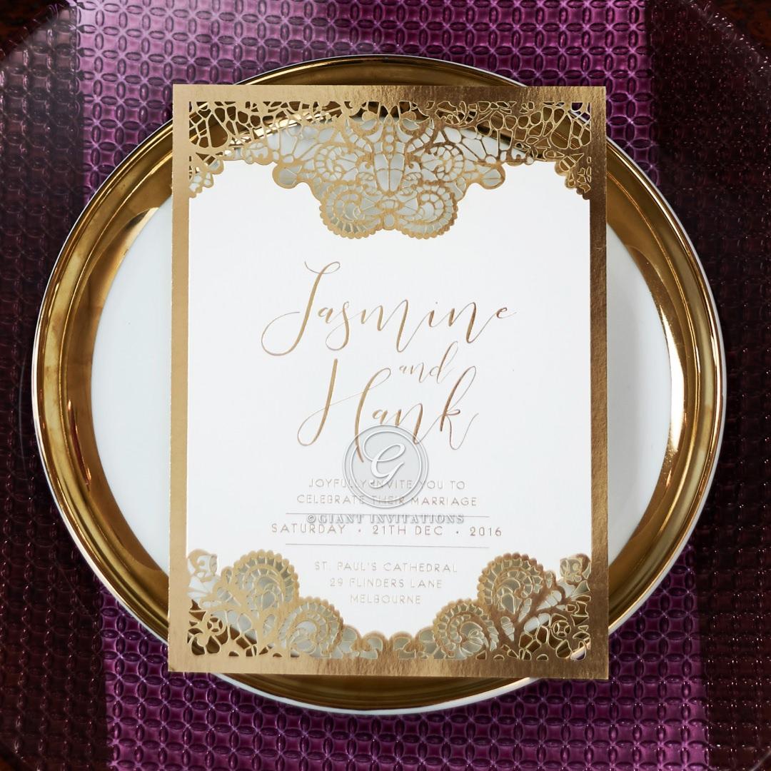 Breathtaking Baroque Foil Laser Cut wedding invitations FTG120001-KI-GG