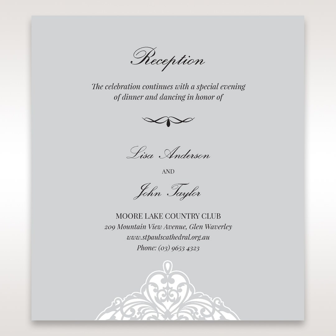 Silver/Gray Jeweled Romance Laser Cut - Reception Cards - Wedding Stationery - 73