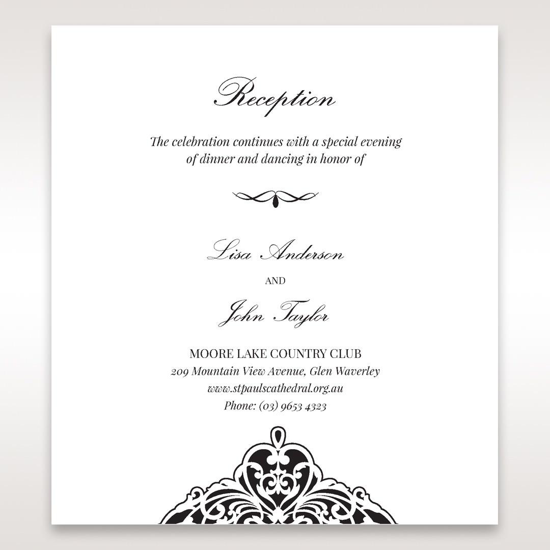 White Jeweled Romance Black Laser Cut - Reception Cards - Wedding Stationery - 79