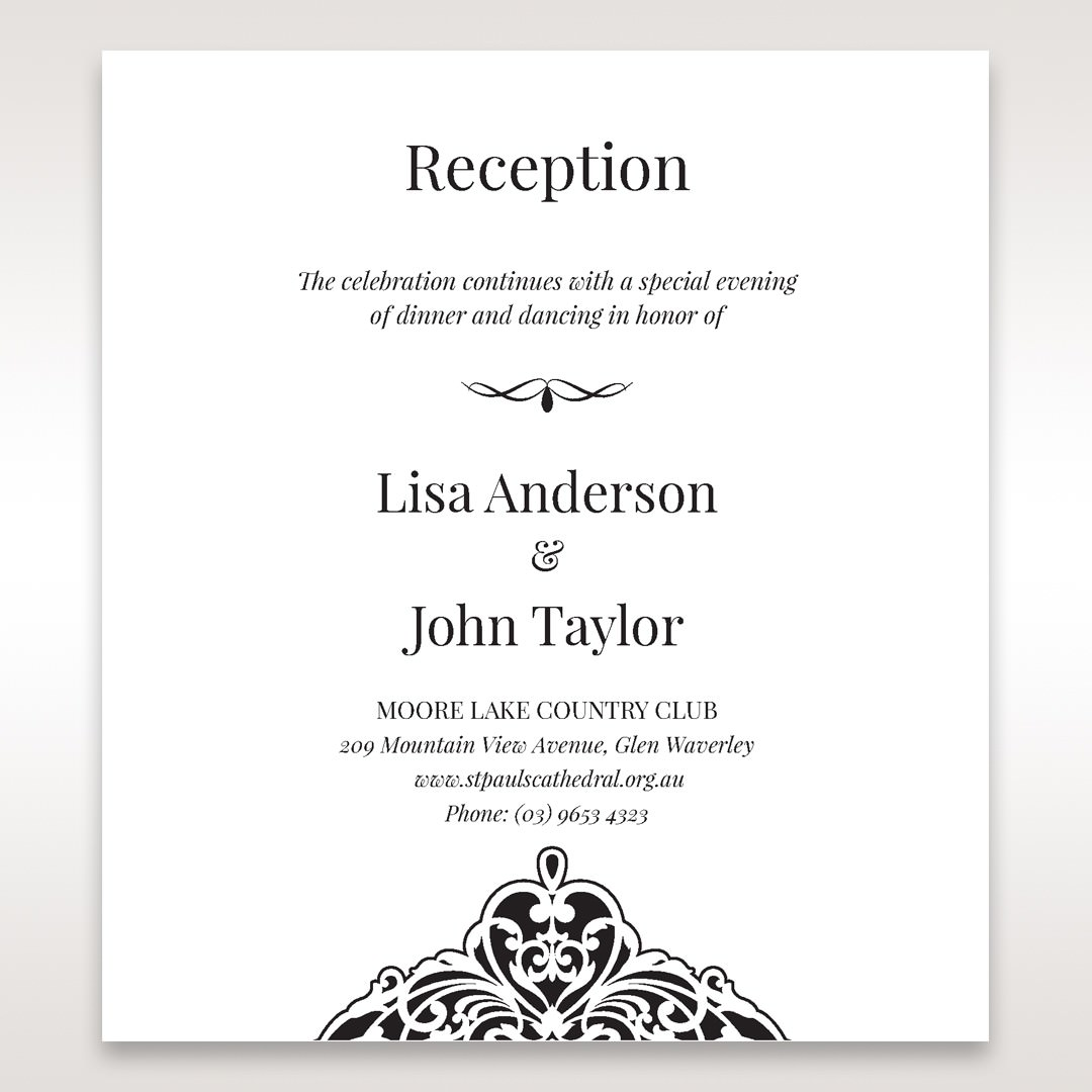 White Jeweled Romance Black Lasercut Pocket - Reception Cards - Wedding Stationery - 87