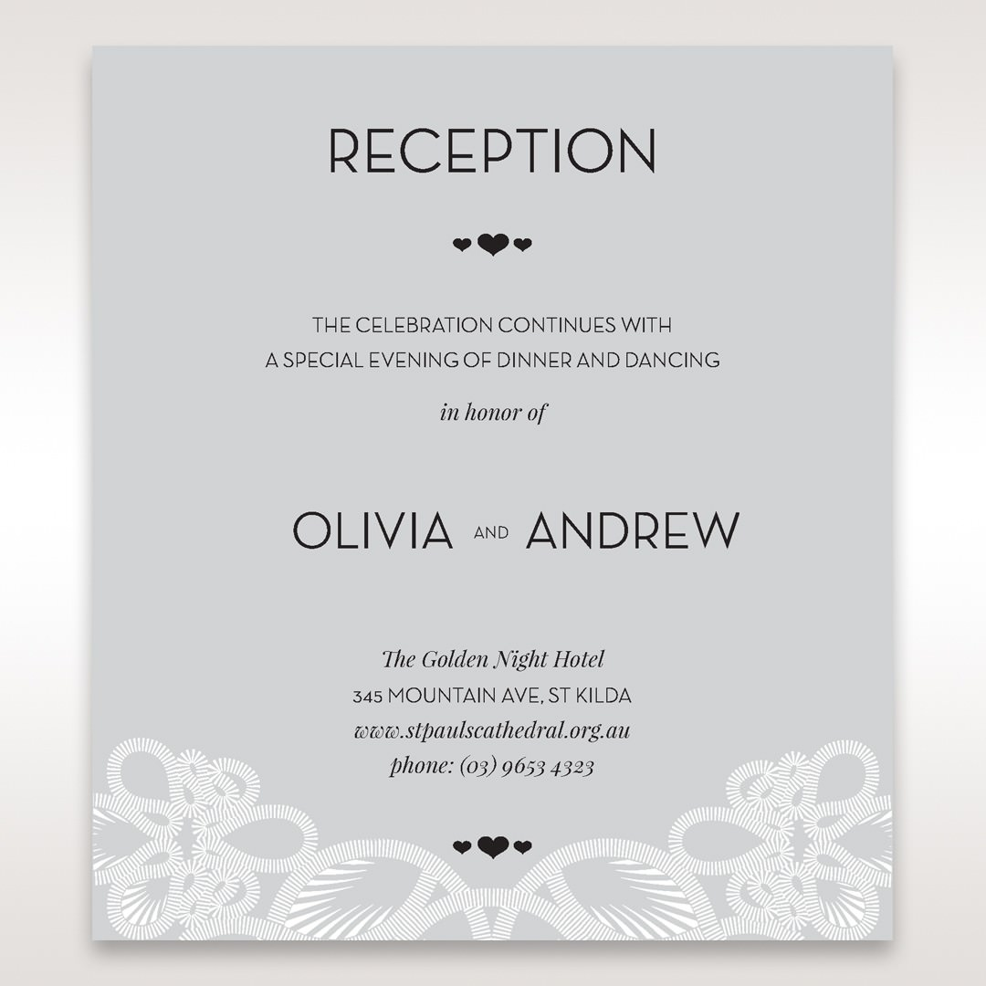 Silver/Gray Elagant Laser Cut Wrap - Reception Cards - Wedding Stationery - 6