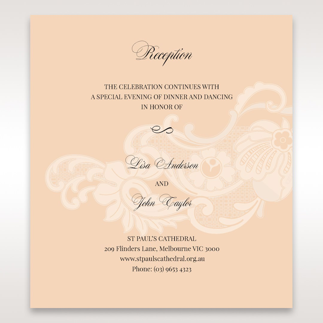 Beige White Laser Cut Wrap with Ribbon - Reception Cards - Wedding Stationery - 11