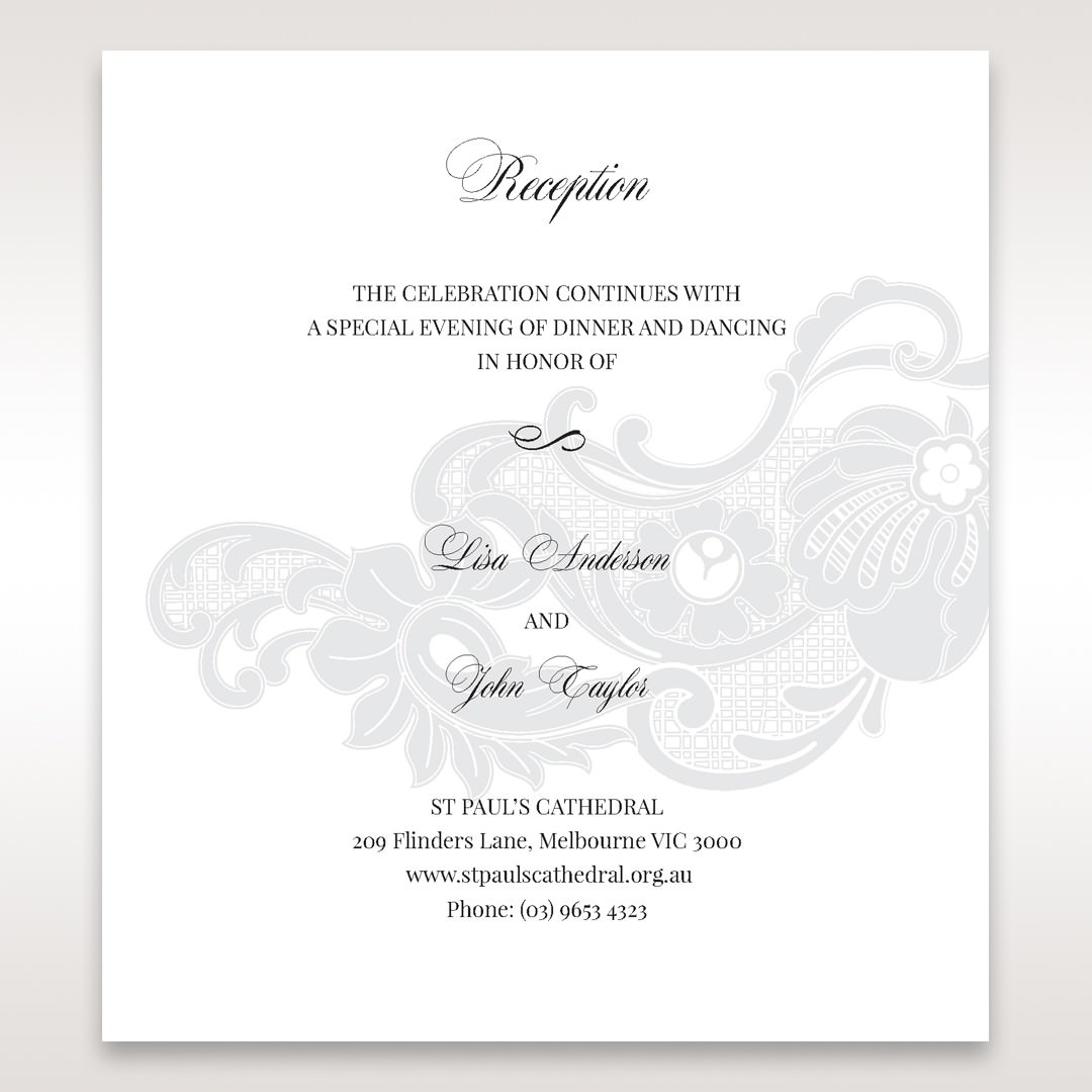White Black Laser Cut Wrap with Ribbon - Reception Cards - Wedding Stationery - 15
