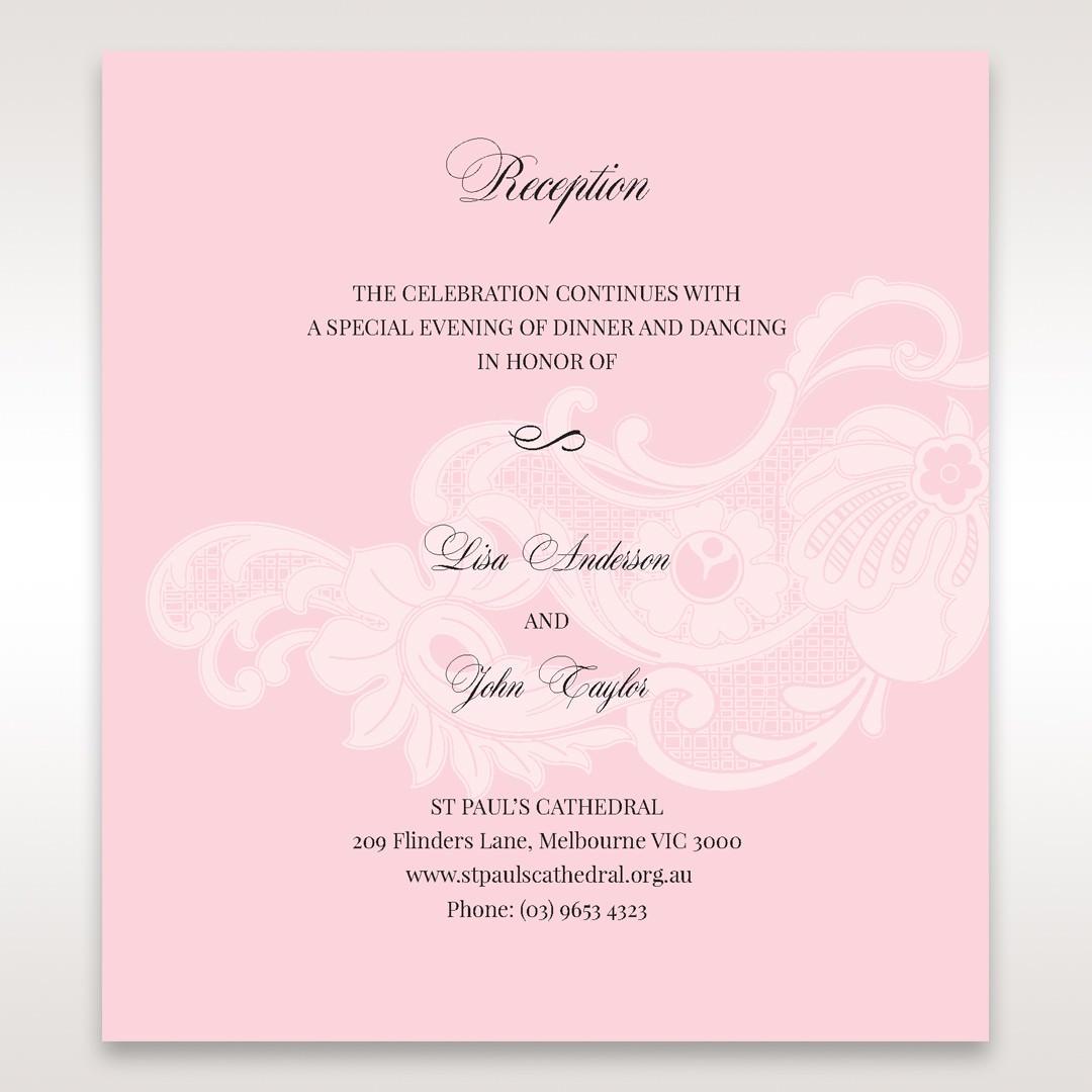 Pink Laser Cut Floral Half Pocket - Reception Cards - Wedding Stationery - 19