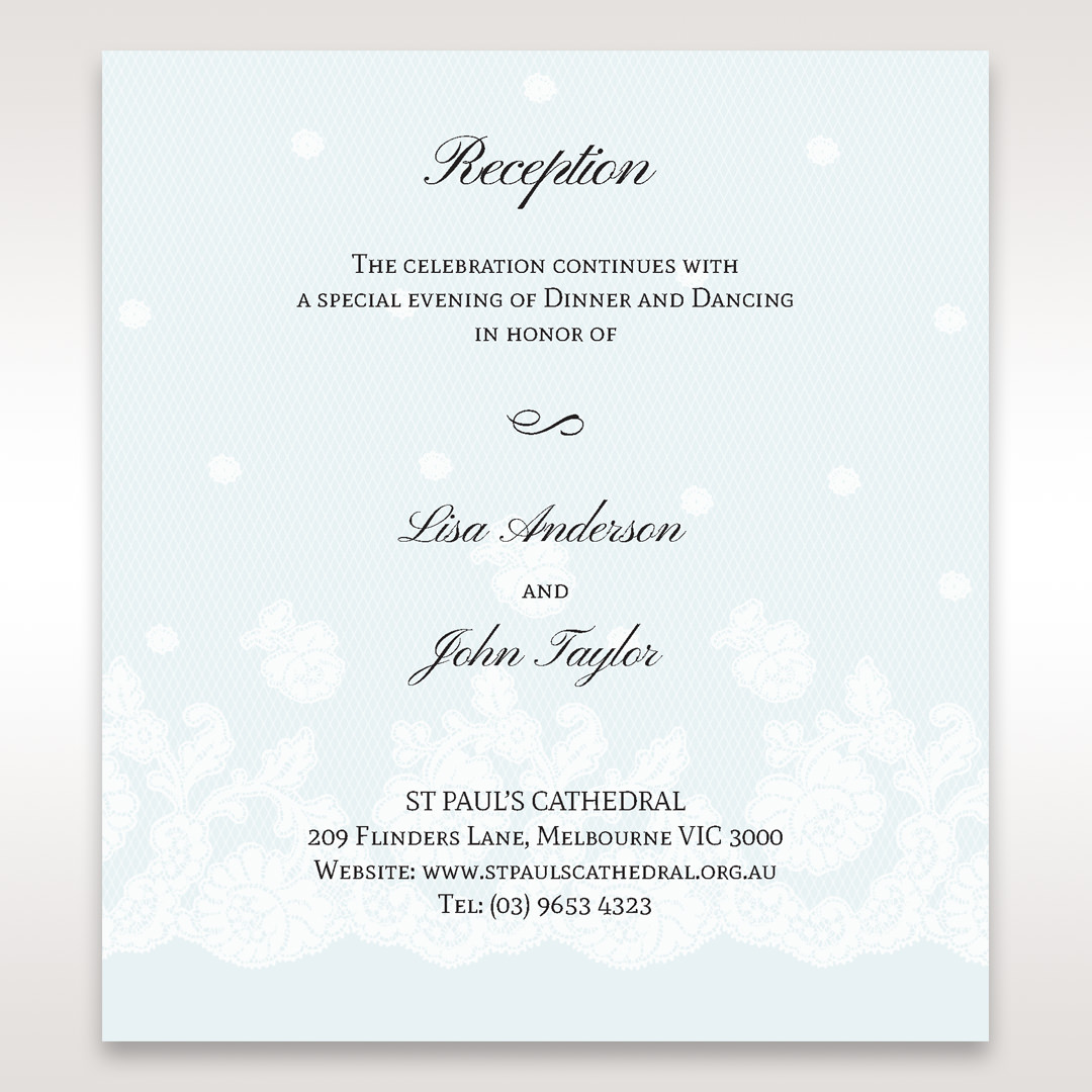Silver/Gray Floral Couture in Blue & White - Reception Cards - Wedding Stationery - 81