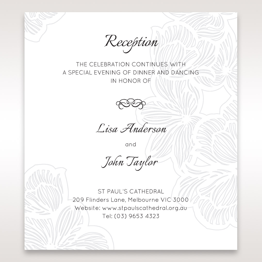 White Laser Cut Floral Lace - Reception Cards - Wedding Stationery - 96