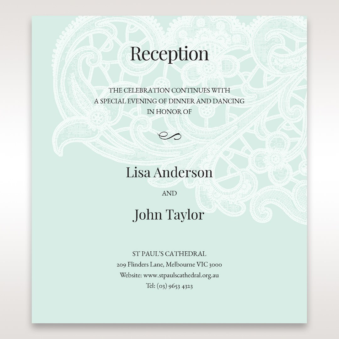 Blue Gatefold Floral Laser Cut - Reception Cards - Wedding Stationery - 70