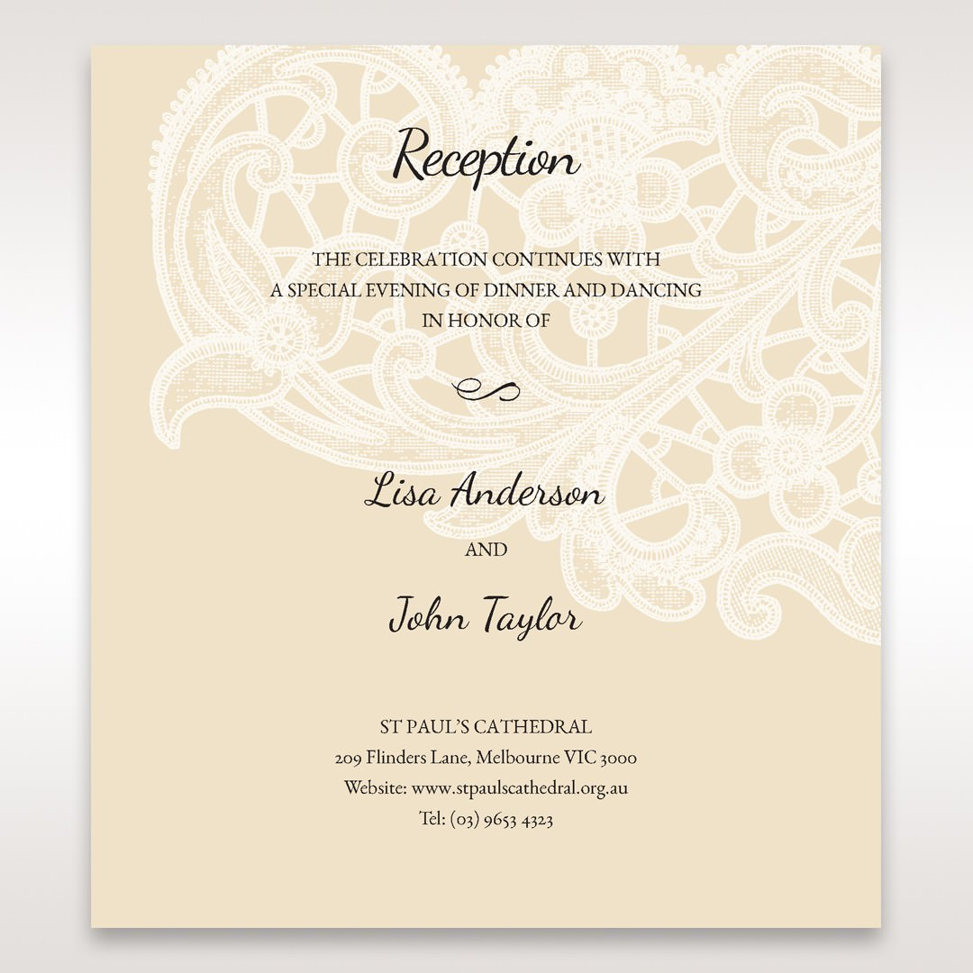 Yellow/Gold Laser Cut Floral Pocket - Reception Cards - Wedding Stationery - 95