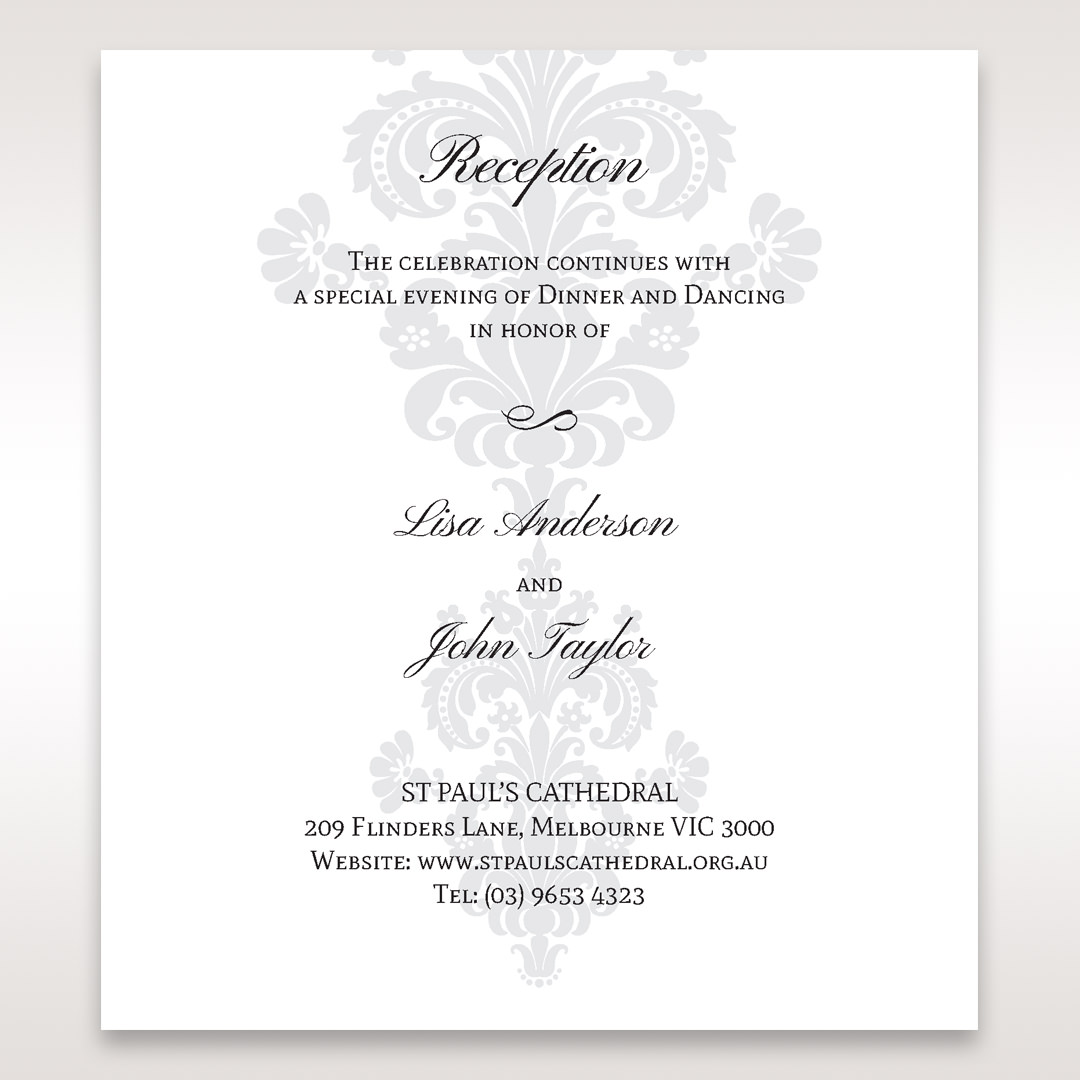 White Letter-fold Damask Pocket - Reception Cards - Wedding Stationery - 63