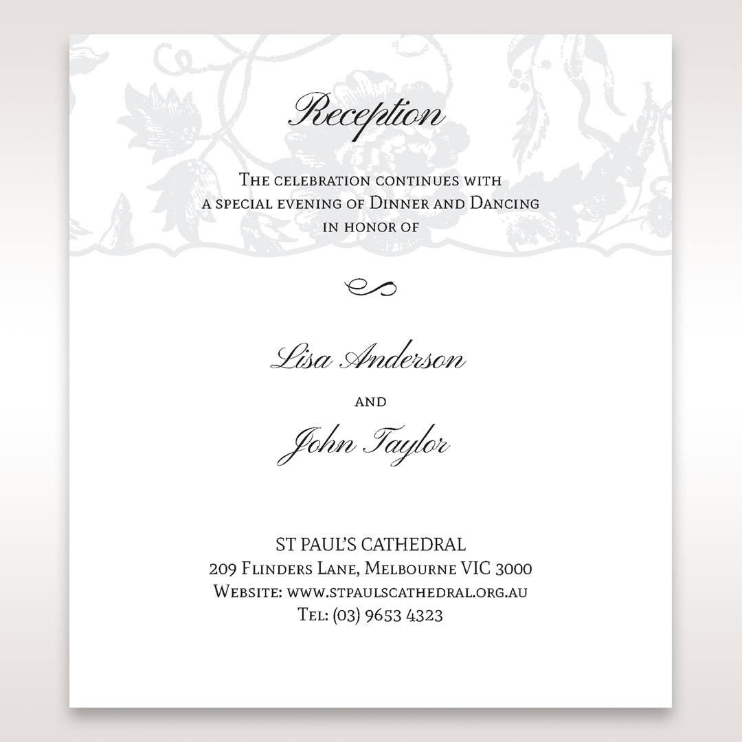 Silver/Gray Enchanted Floral Pocket III - Reception Cards - Wedding Stationery - 64