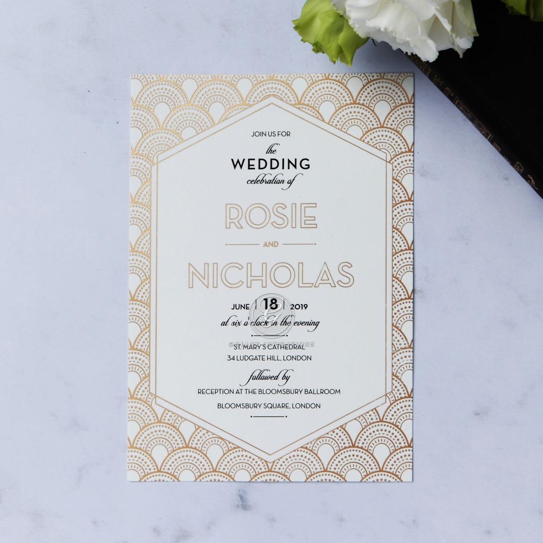 Modern Art Deco Wedding Stationery with Custom Foiling