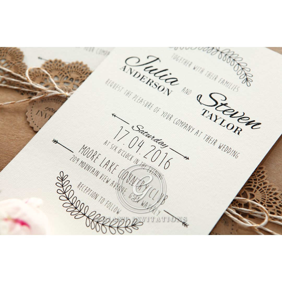 Twine And Lace Rustic Pocket Invite With Raised Printing