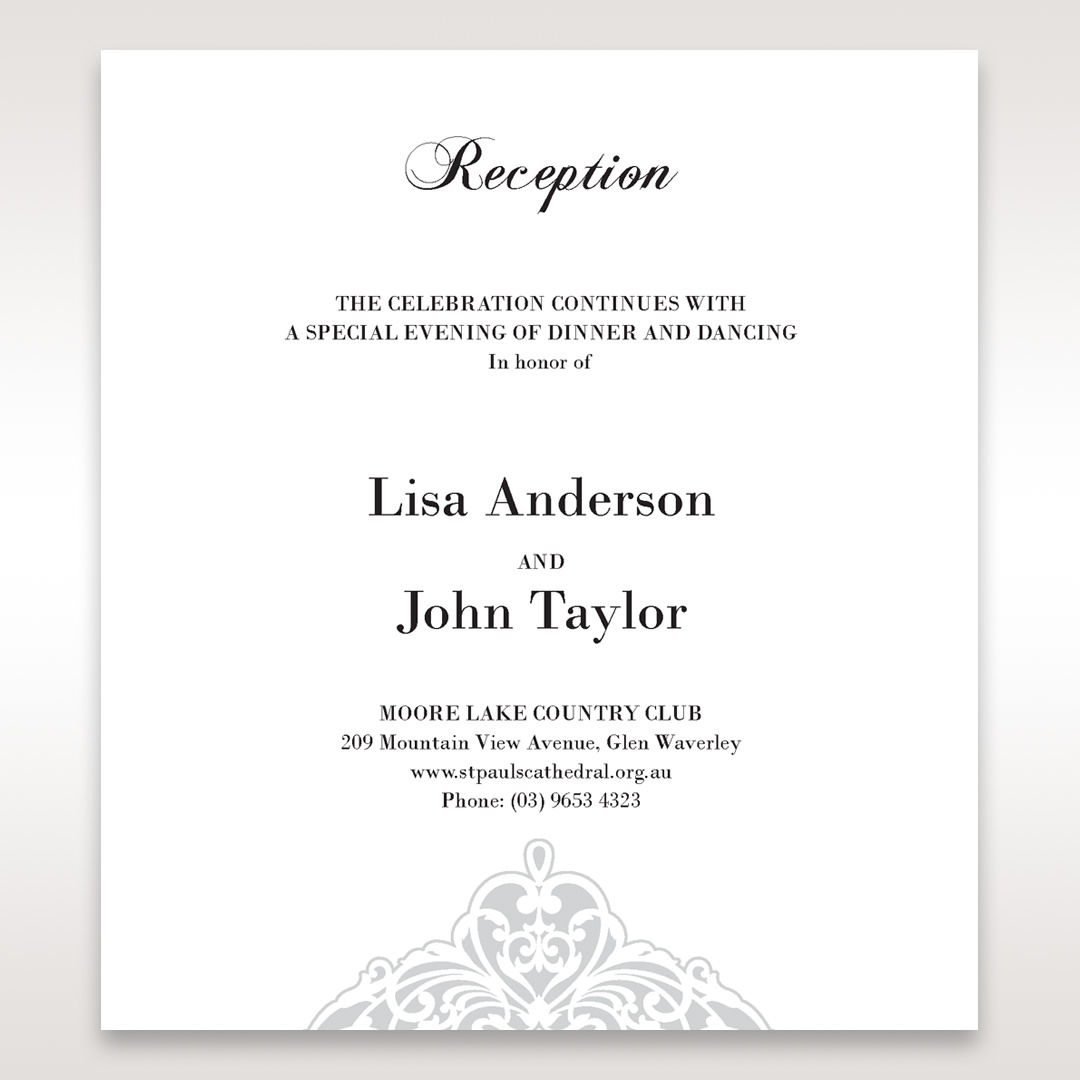 White An Elegant Beginning - Reception Cards - Wedding Stationery - 23