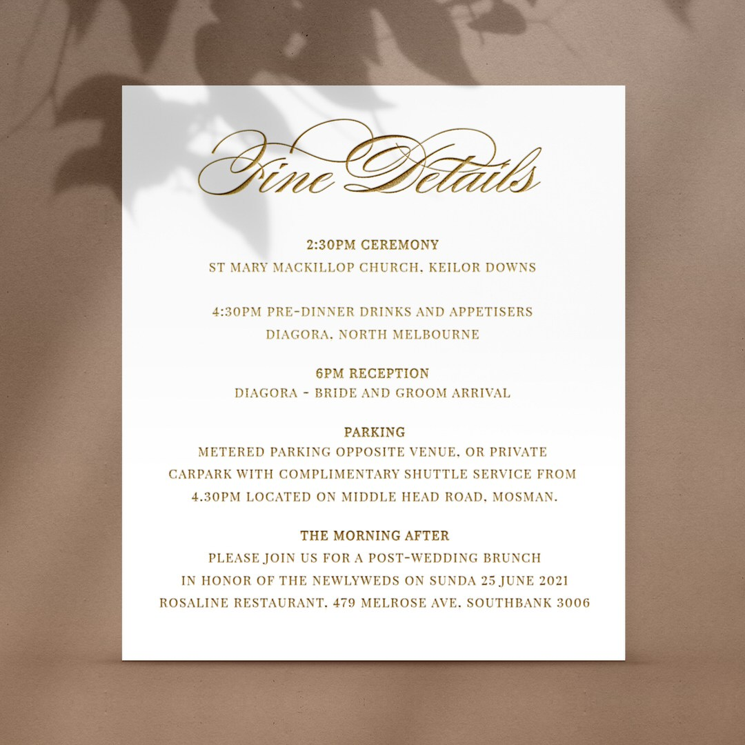 Pre Foiled Ivory Finer Details - Reception Cards - D-KI300-PFL-GG-06 - 184489