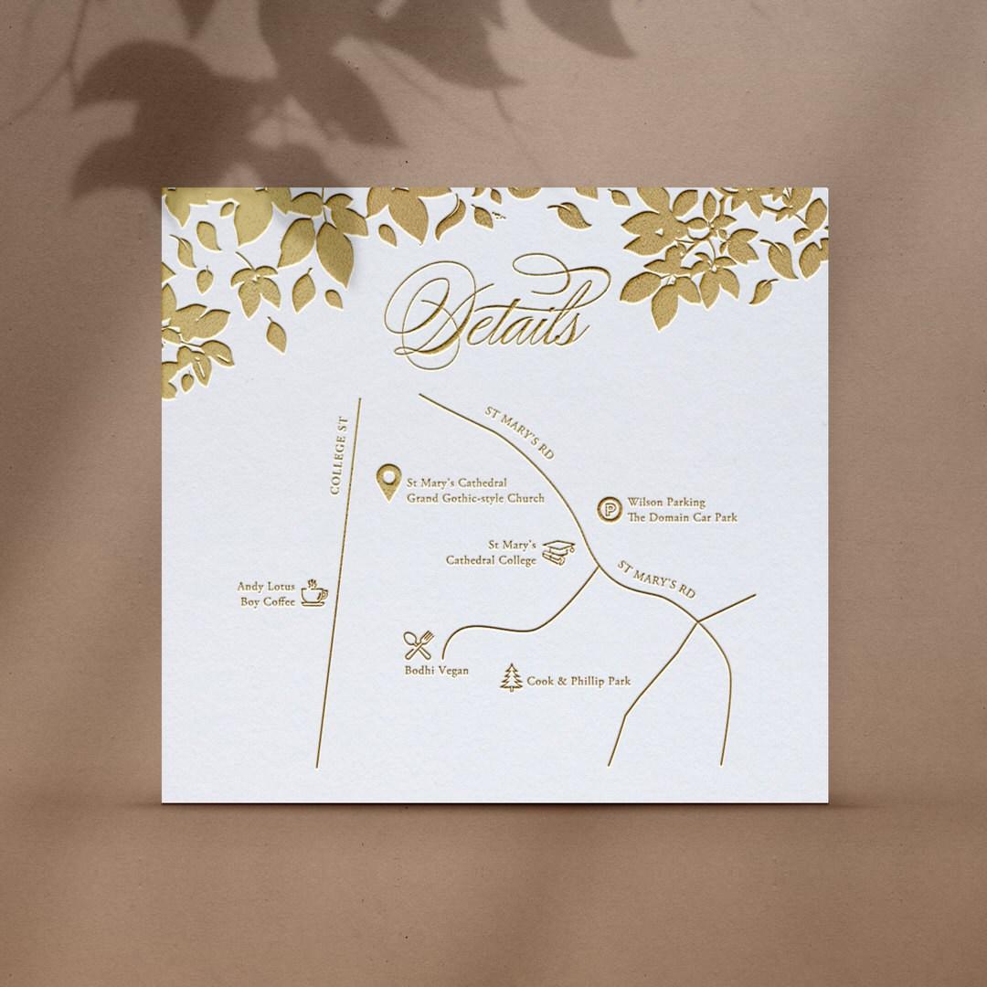 Foiled Botanicals Details Card with Map - Reception Cards - D-KI300-PFL-GG-10 - 184513