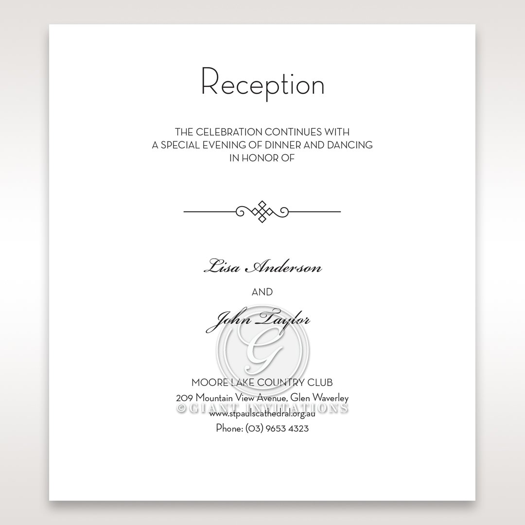 Embossed Date reception card DC14131