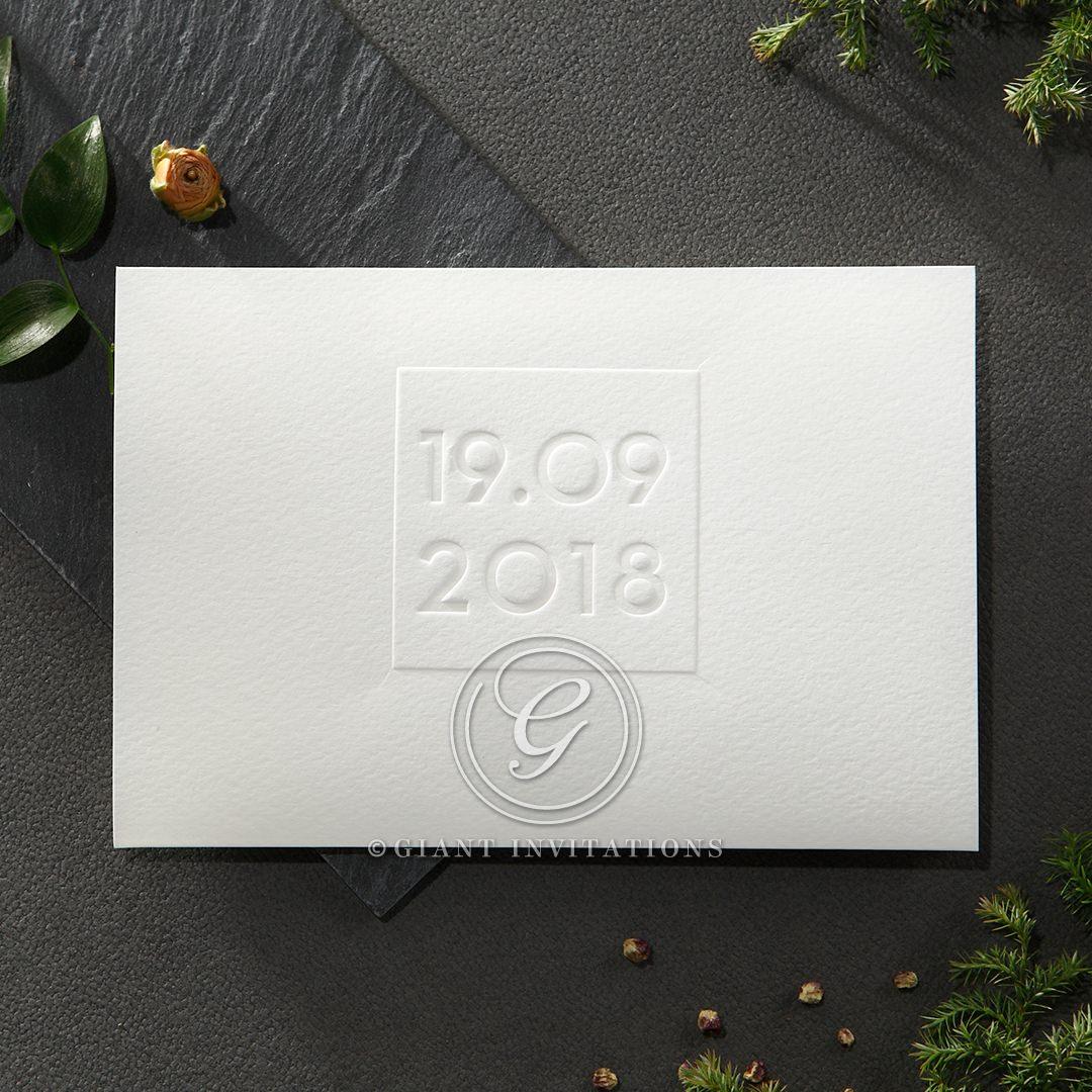 Embossed Date wedding invitations HB14131
