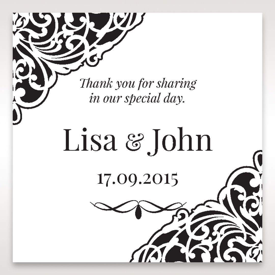 White Jeweled Romance Black Lasercut Pocket - Gift Tags - Wedding Stationery - 66