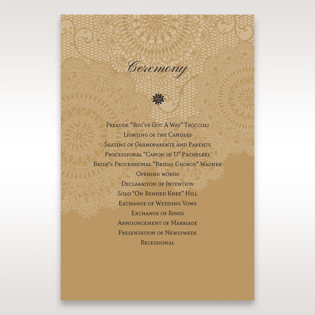 Yellow/Gold Tri-Fold Laser Cut Gold - Order of Service - Wedding Stationery - 88