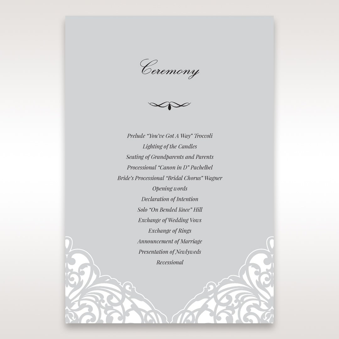 Silver/Gray Jeweled Romance Laser Cut - Order of Service - Wedding Stationery - 21