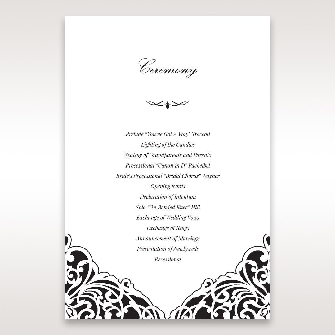 White Jeweled Romance Black Laser Cut - Order of Service - Wedding Stationery - 27
