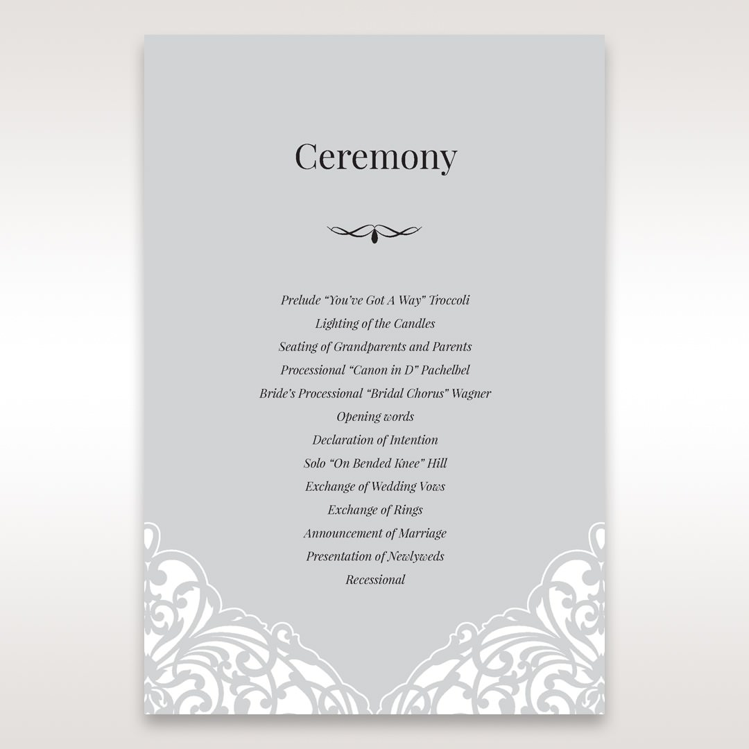 Silver/Gray Jeweled White Lasercut Pocket - Order of Service - Wedding Stationery - 30