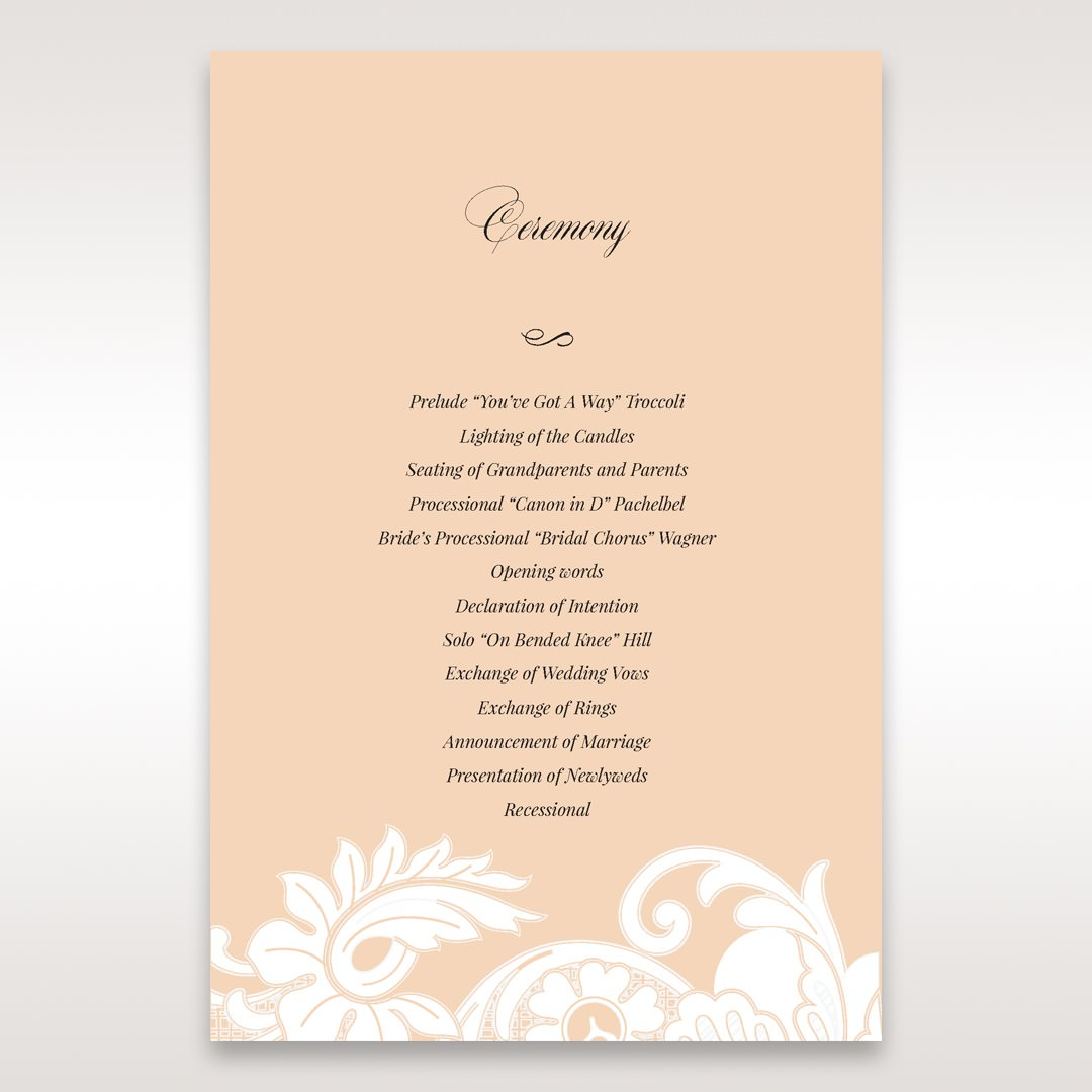 Beige White Laser Cut Wrap with Ribbon - Order of Service - Wedding Stationery - 59