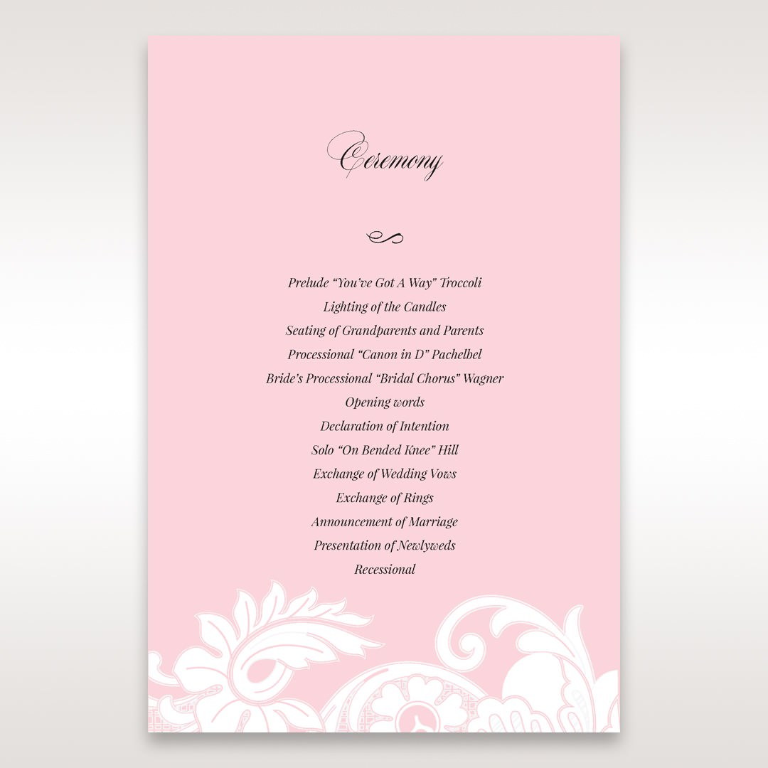 Pink Laser Cut Floral Half Pocket - Order of Service - Wedding Stationery - 67