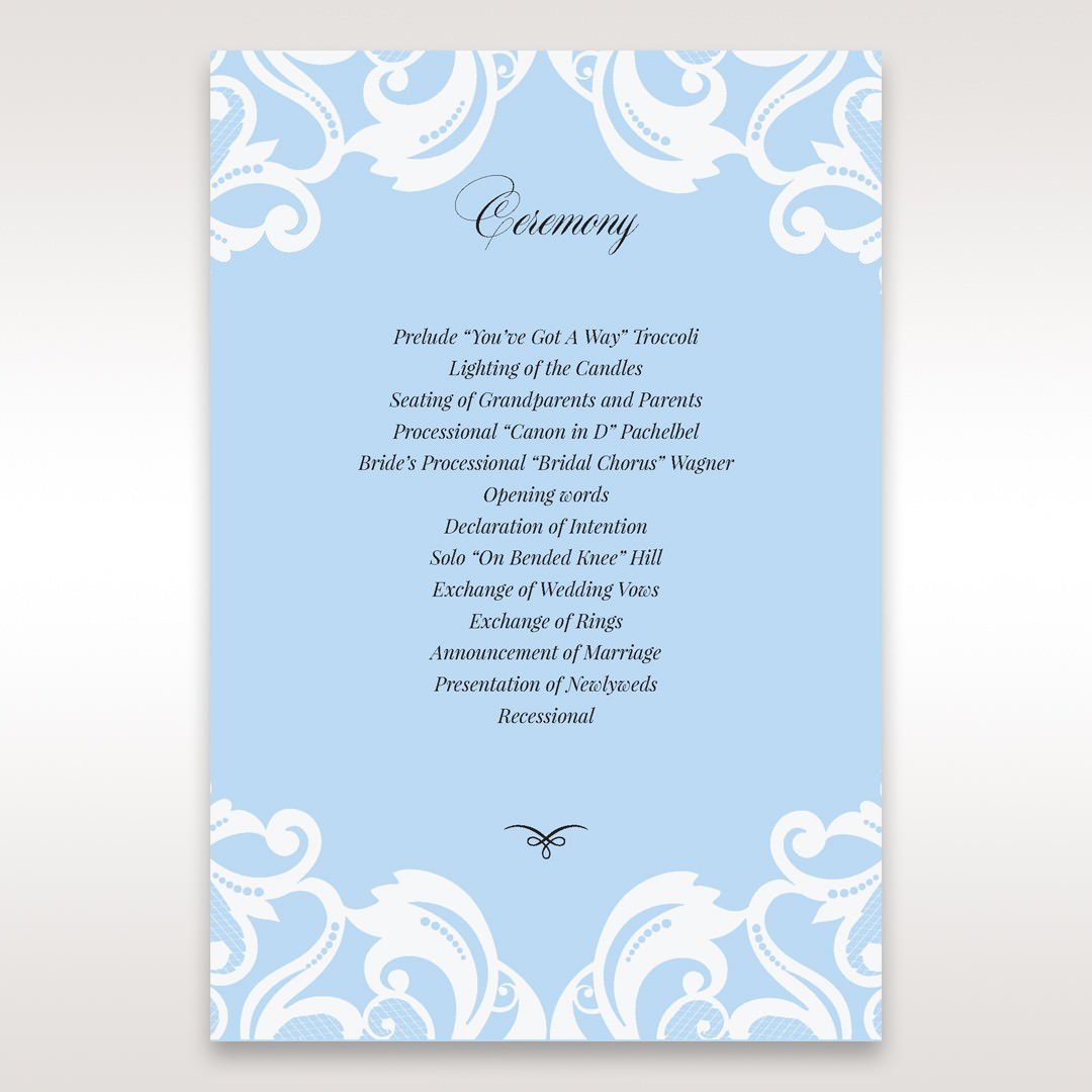 Blue Classy Laser Cut with White Bow - Order of Service - Wedding Stationery - 69