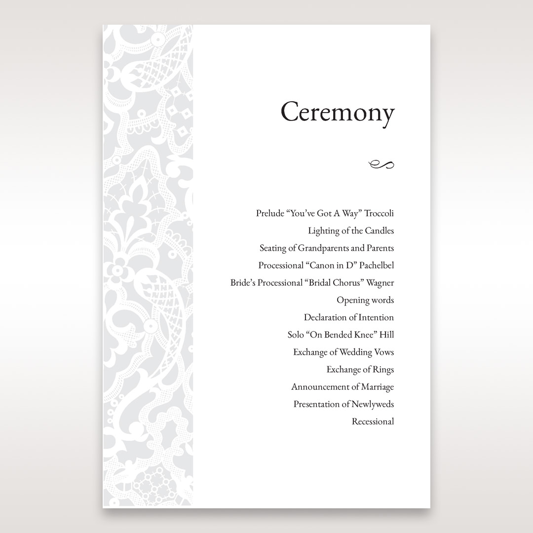 White Elegant Laser Cut - Order of Service - Wedding Stationery - 93