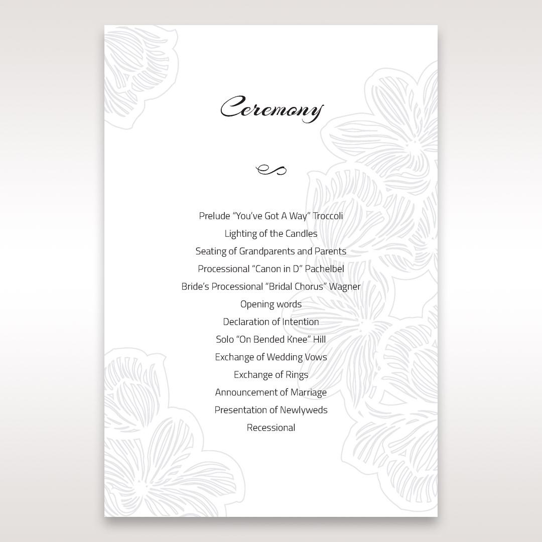 Orange Laser Cut Flower Frame - Order of Service - Wedding Stationery - 30