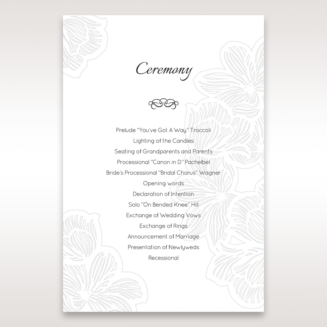 White Laser Cut Floral Lace - Order of Service - Wedding Stationery - 18