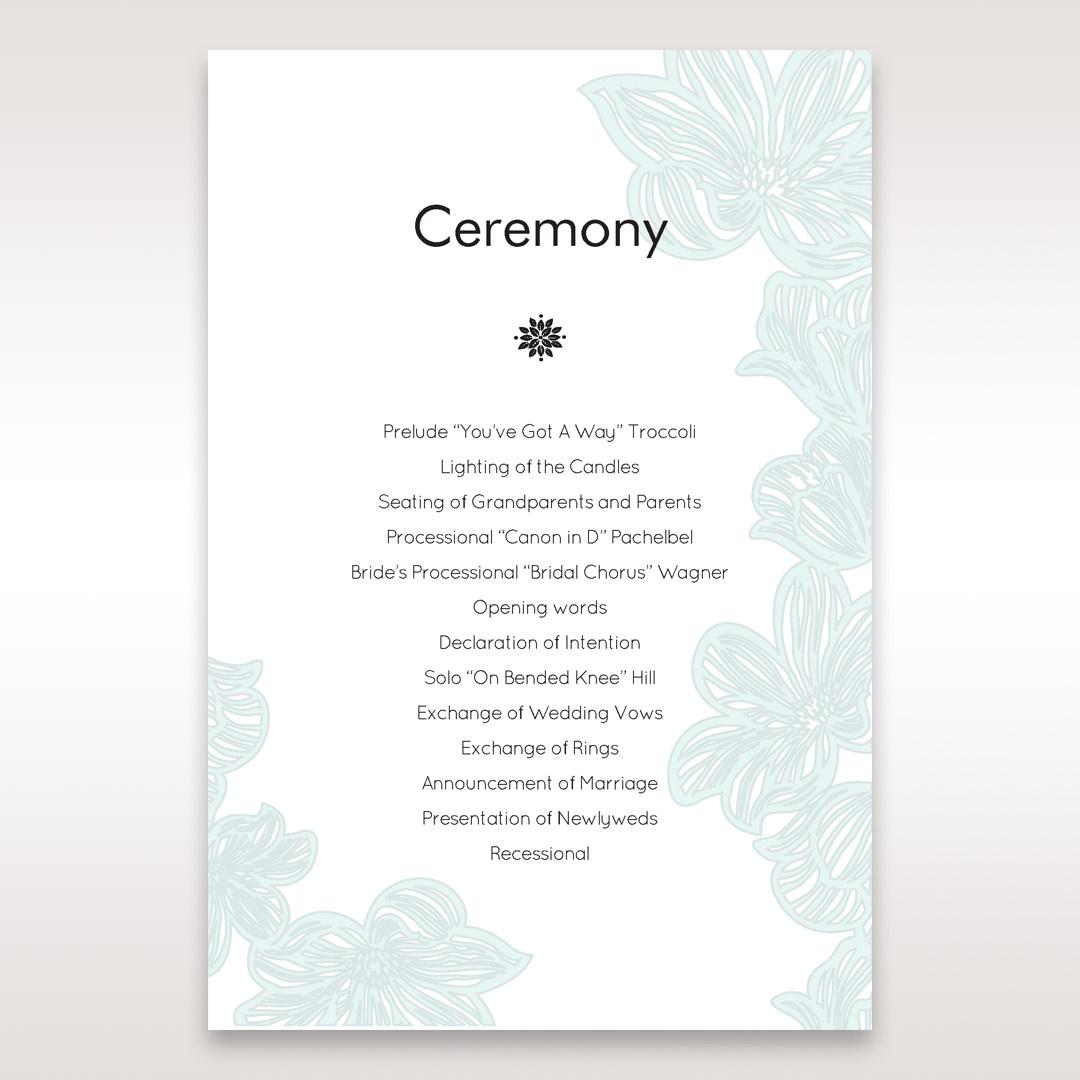 Blue Laser Cut Flower Wrap - Order of Service - Wedding Stationery - 0