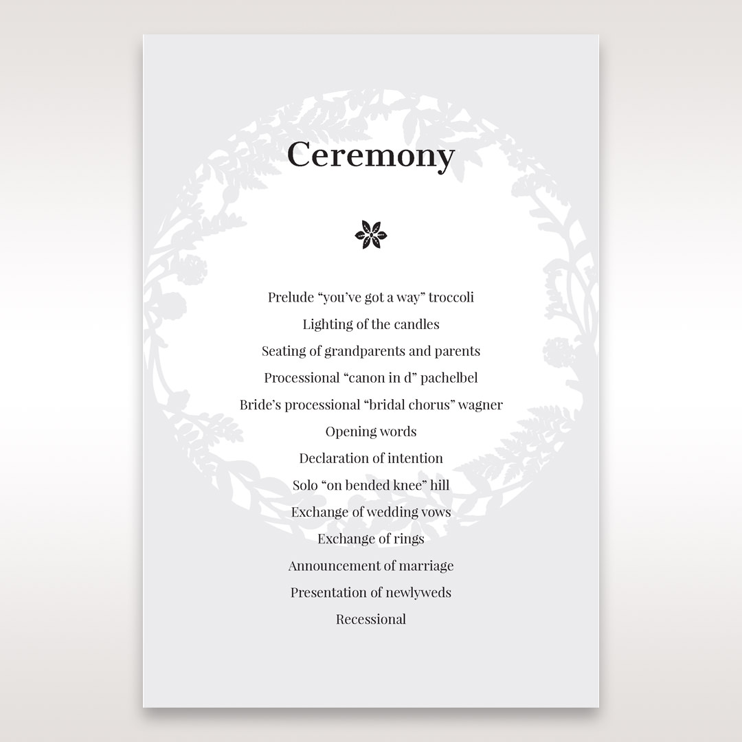 White Enchanted Forest I Laser Cut P - Order of Service - Wedding Stationery - 81