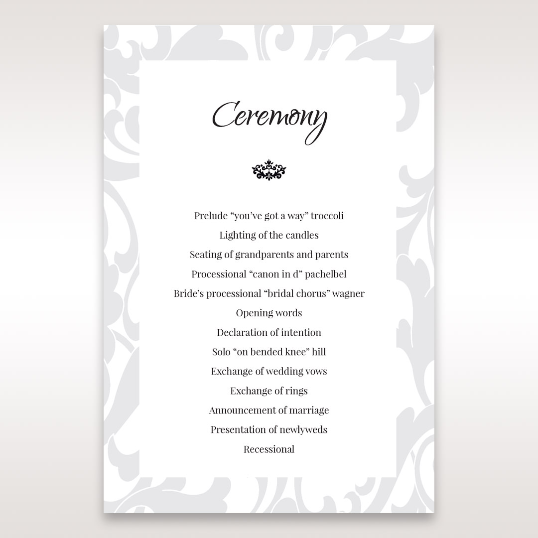 Blue Laser Scrolling Grandeur Layered Laser Cut - Order of Service - Wedding Stationery - 2