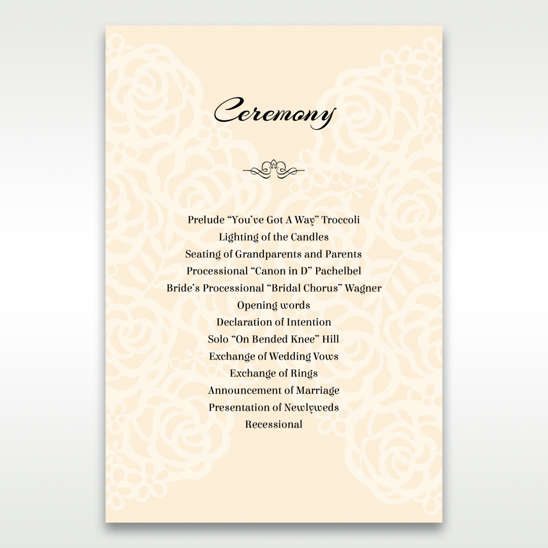 Yellow/Gold Laser Victorian Lace Laser Cut Wrap - Order of Service - Wedding Stationery - 1