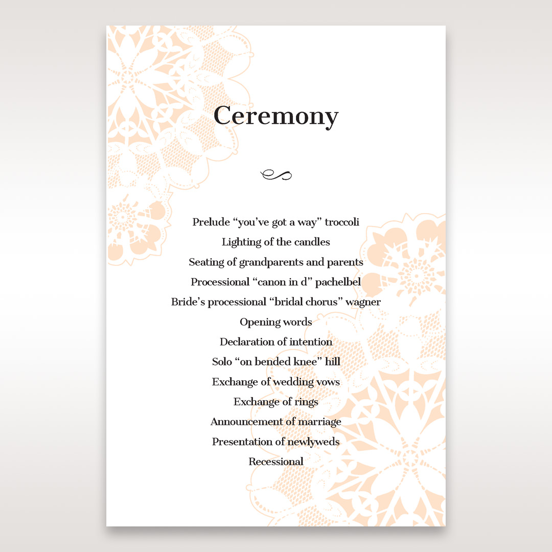 Orange Laser Cut Floral Frame - Order of Service - Wedding Stationery - 60