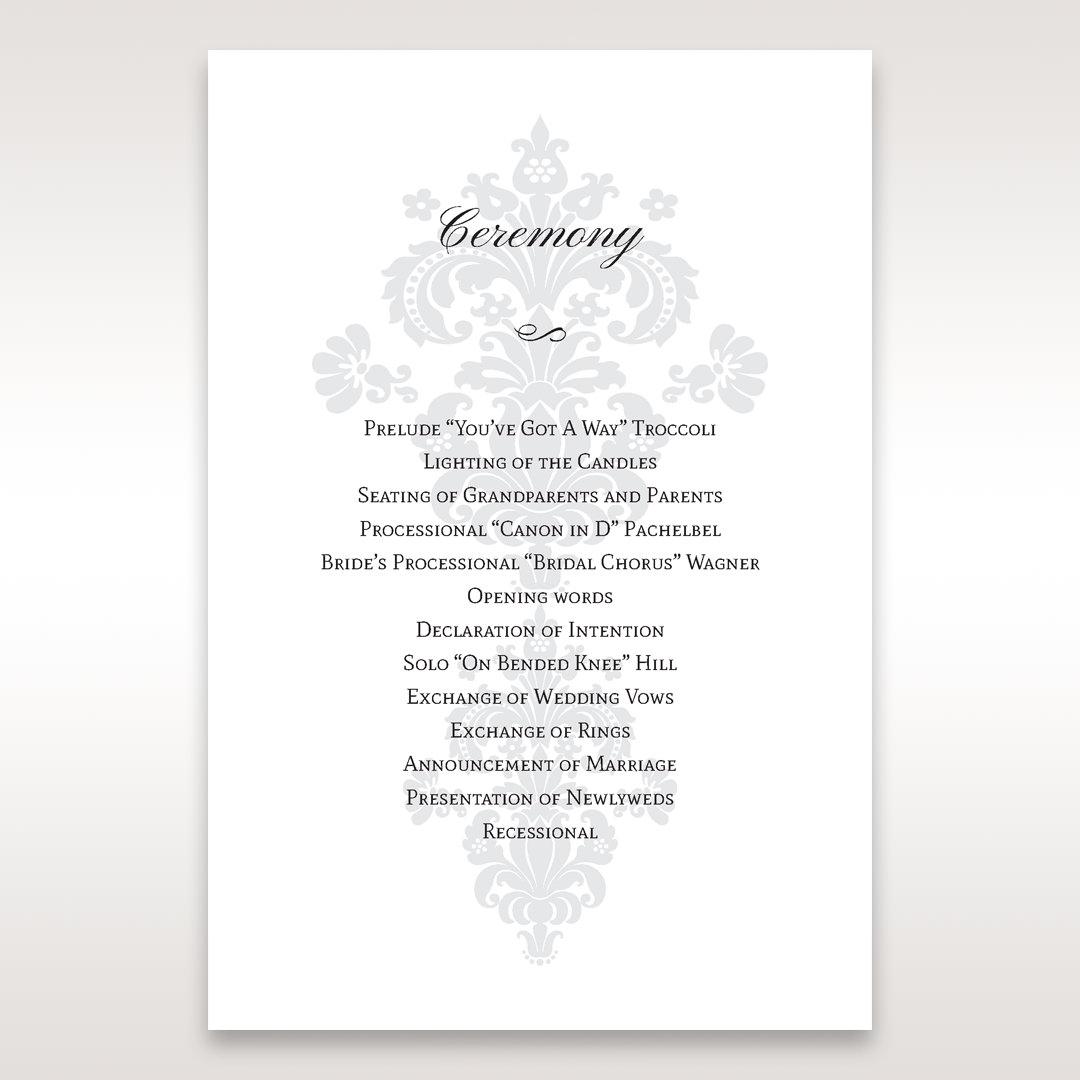 White Letter-fold Damask Pocket - Order of Service - Wedding Stationery - 98
