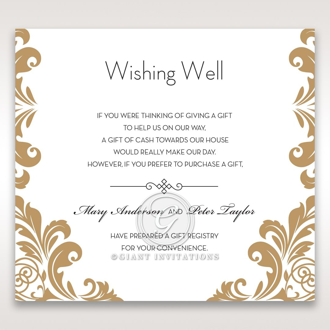 Golden Antique Pocket wishing well card DW11090