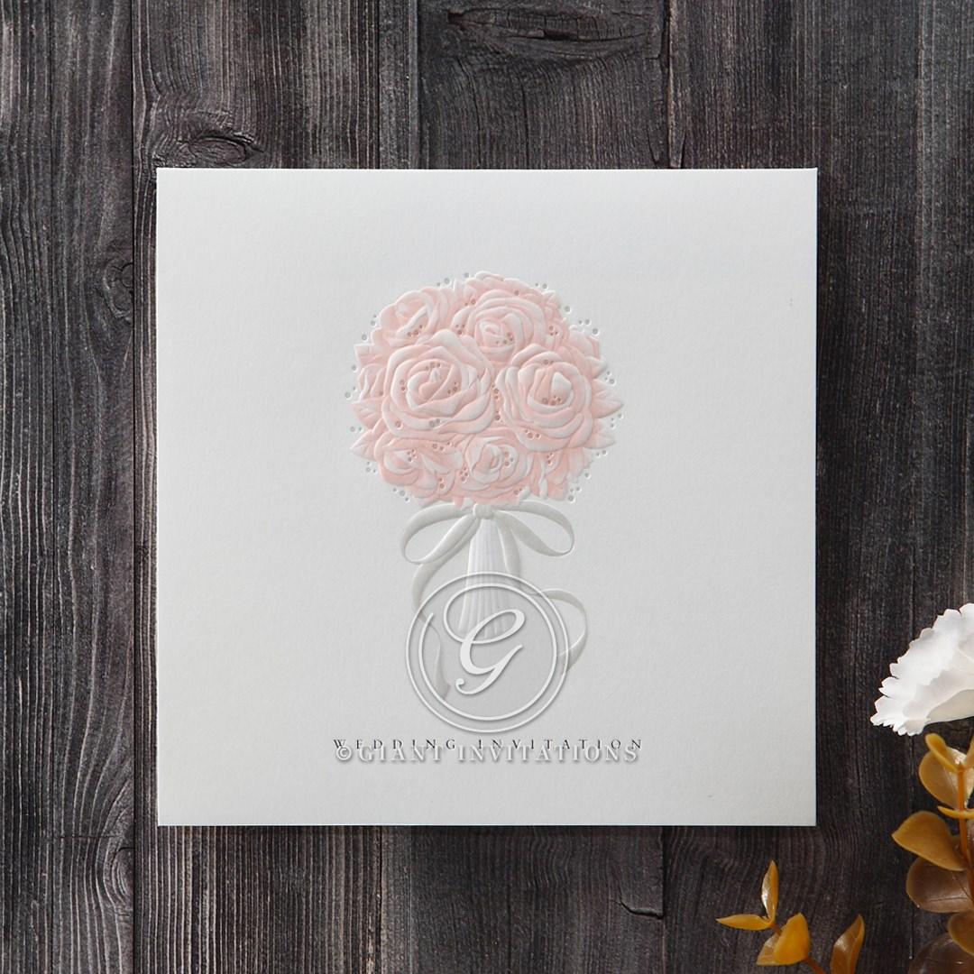 White Bouquet of Roses - Wedding invitation - 75