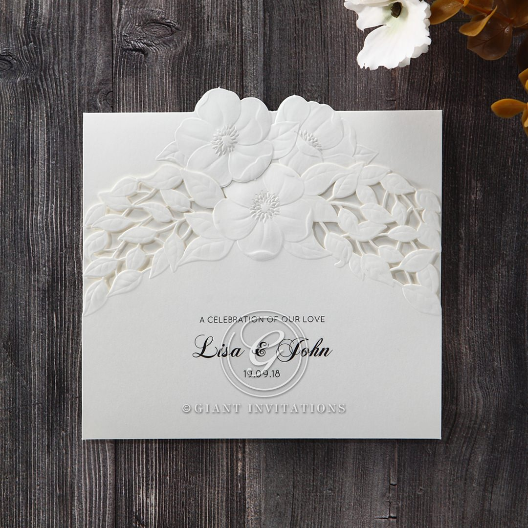 White Cascading Flowers - Wedding invitation - 1