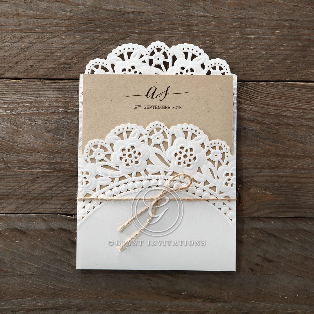 vintage doily laser cut pocket for intimate rustic affairs