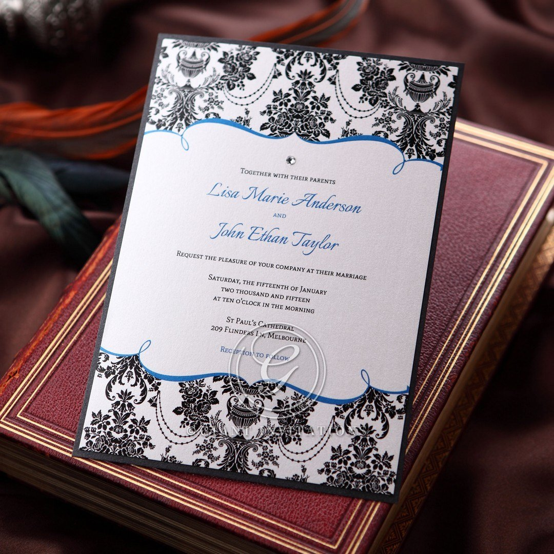 Jeweled victorian patterned wedding invitation, black frame and white insert