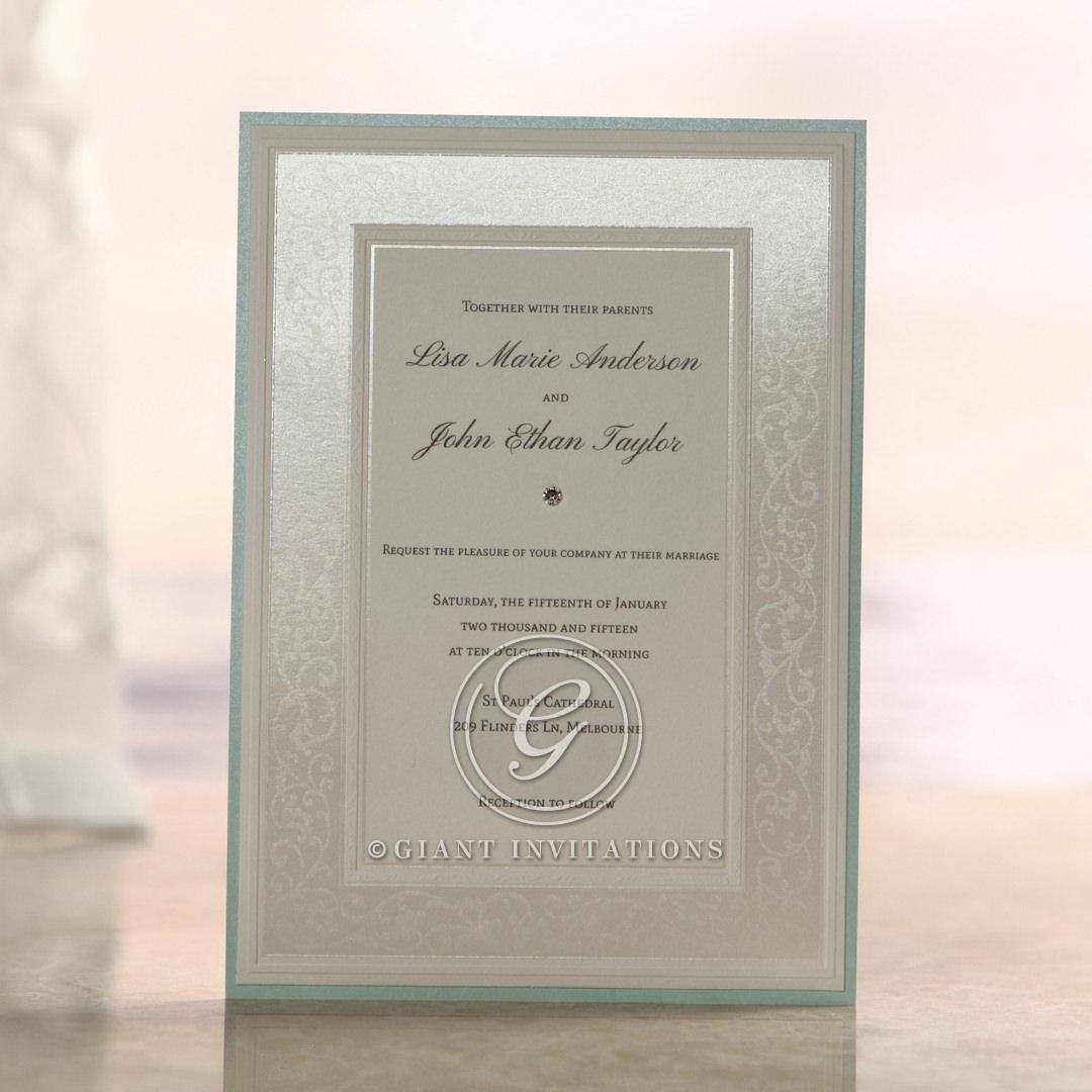 Silk screened design, white, framed, light blue border, jeweled flat card, layered wedding ivitation