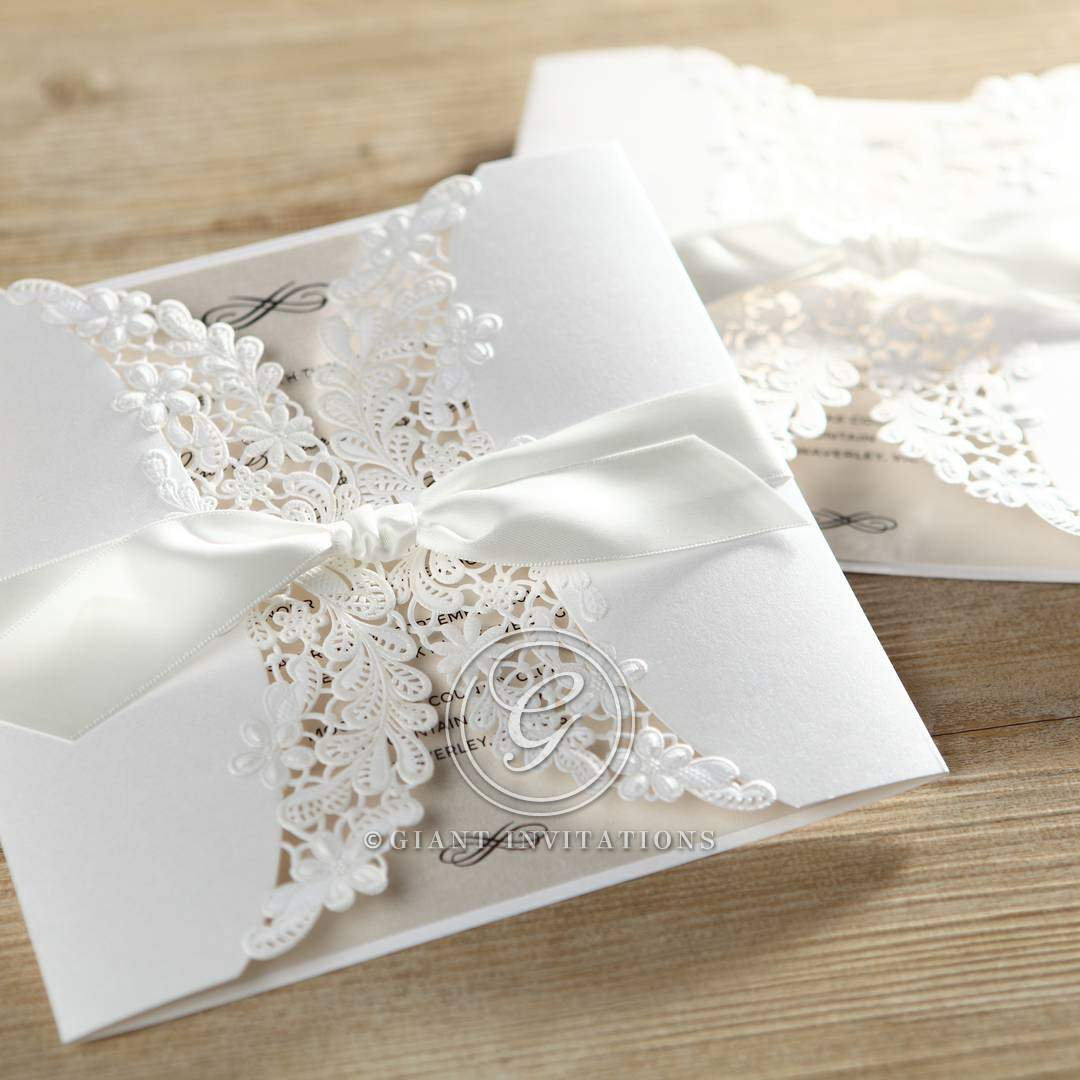 vintage floral laser cut traditional and classic by giant With laser cut floral wrap wedding invitations