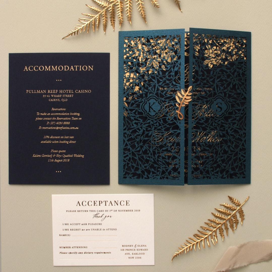 Navy Botanical Gate - Wedding Invitations - PWI116022-NV-SV - 183962