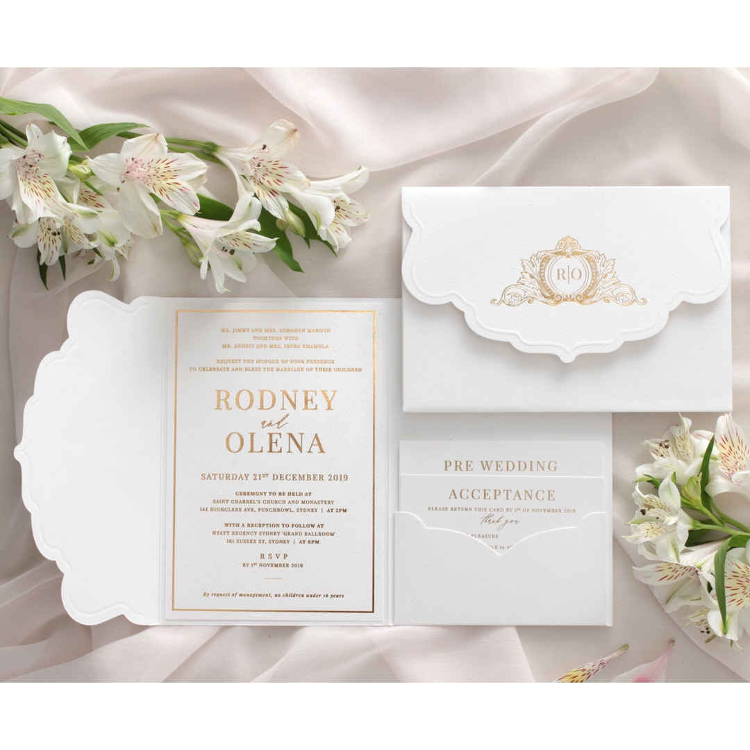 Mesmerising Solid White Pocket - Wedding Invitations - WPSP-01 - 183842