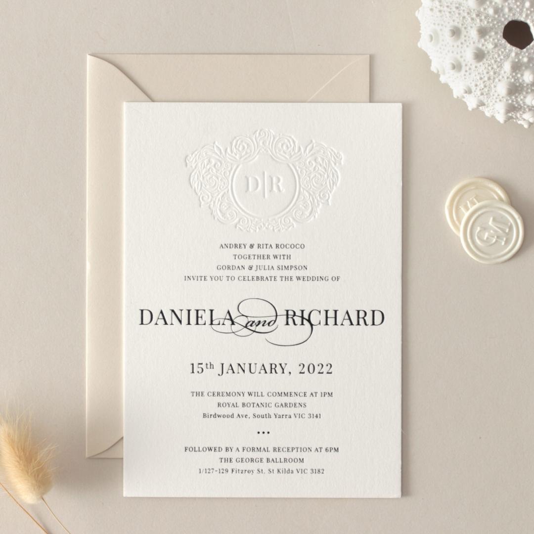 Blind Letterpress Crest with Foil - Wedding Invitations - WP-IC55-BLBF-01 - 184311
