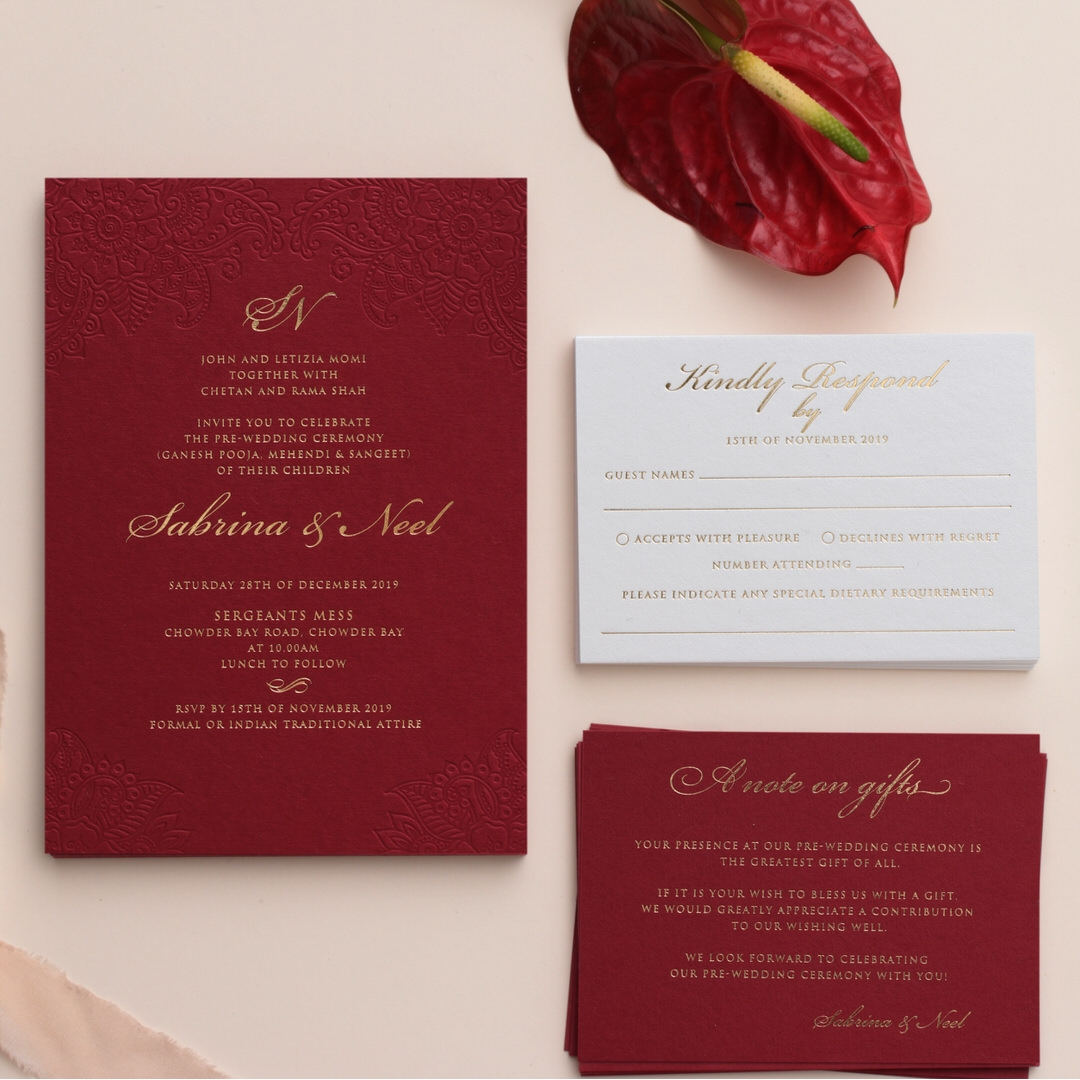 Burgundy Letterpress with Foil - Wedding Invitations - WP001CC-FB - 183873