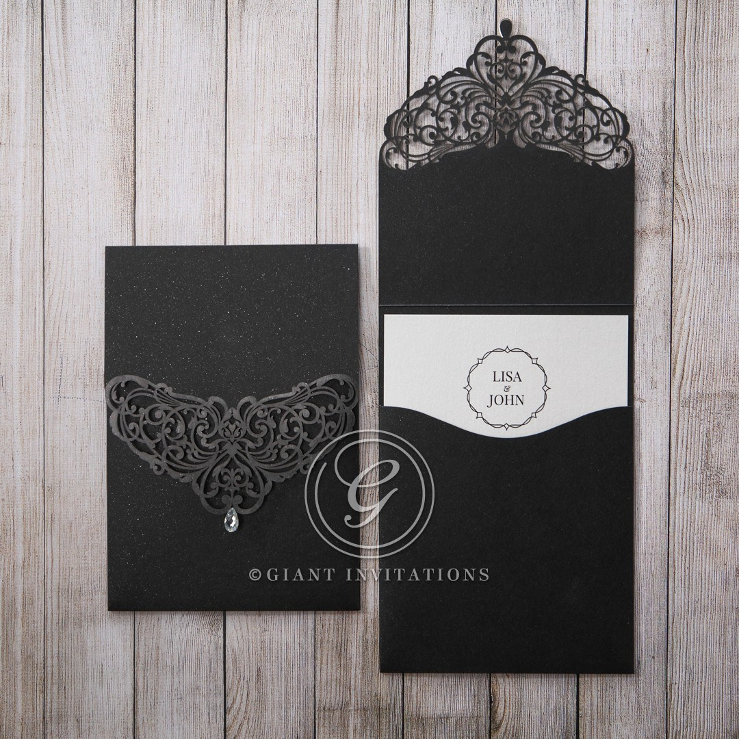 Wedding Invitations Pocket Style: Crystal Drop On Elegant Black Laser Cut